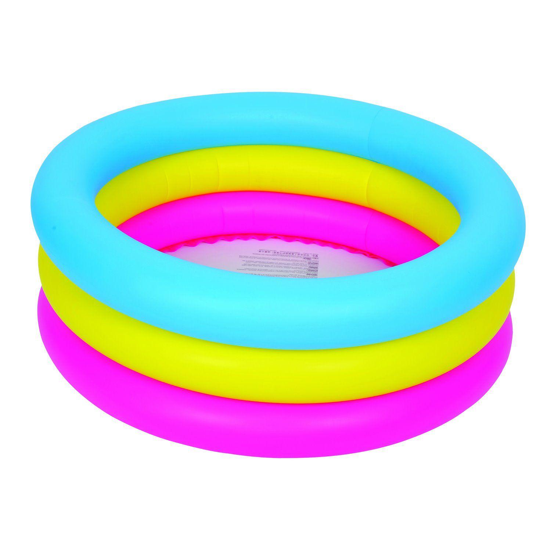 Piscina Inflável com 3 Anéis Coloridos 60 Litros