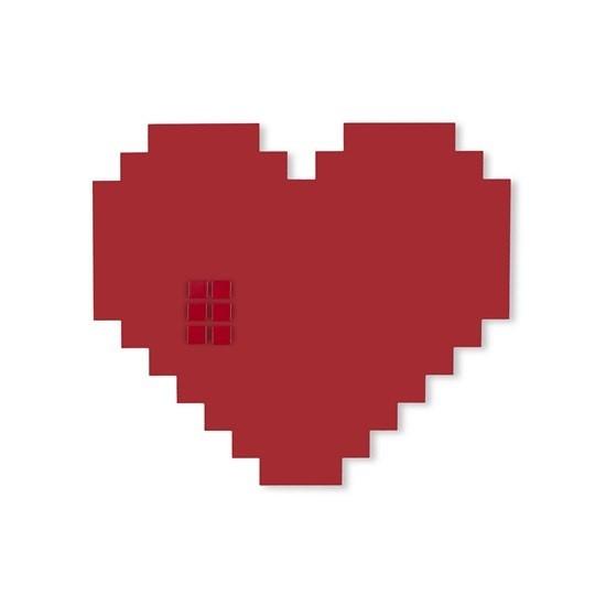 Placa Coração Vermelho Pixel em Aço Geguton