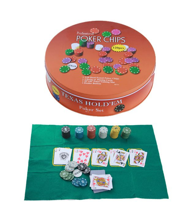 Poker Set Profissional Laranja C/120 Fichas Texas Hold´em