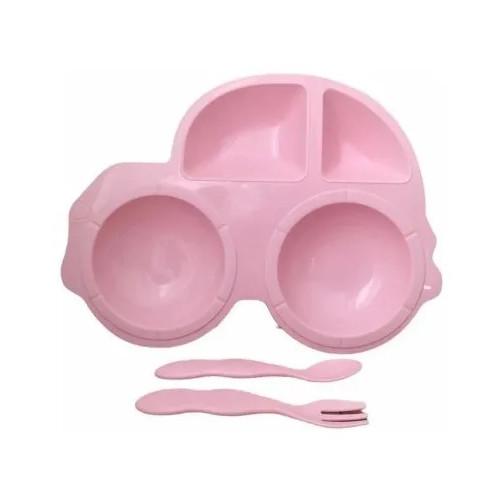 Pratinho Plástico Carro Infantil Com Talheres