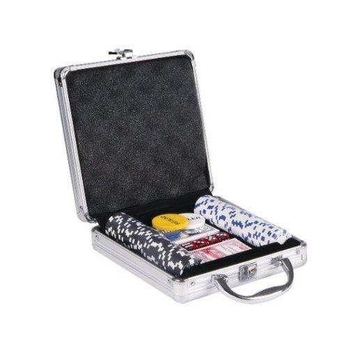 Professional Casino Size Poker Chip Game Set 100 Pcs 2x Card Deck, Dice, Incz