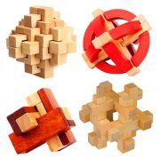 Kit 4 Quebra Cabeça Puzzle Madeira Mod.4