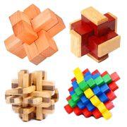 Kit 4 Quebra Cabeça Puzzle Madeira Mod.6