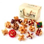 Kit 16 Quebra Cabeça Puzzle Madeira