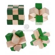 Kit Quebra Cabeça Puzzle Madeira Com 4