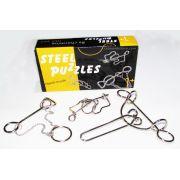 Kit 3 Quebra Cabeça De Metal Steel