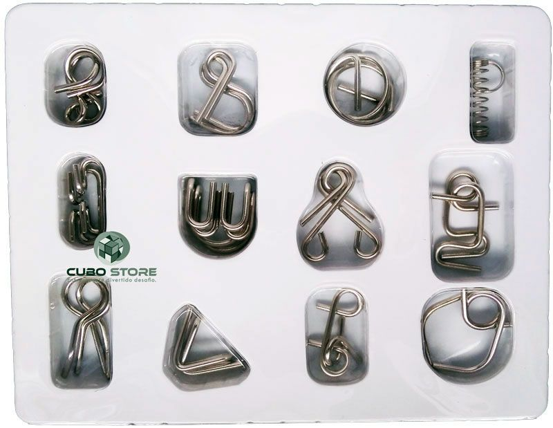 Kit 12 Quebra Cabeça Metal Enigma