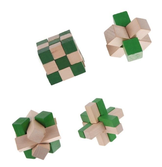 Kit 4 Quebra Cabeça Puzzle Madeira Mod.1