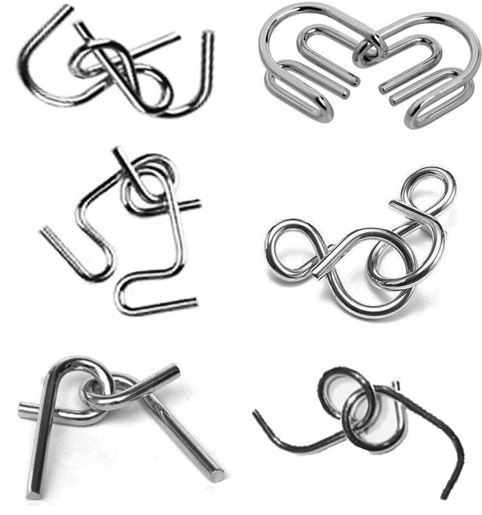Kit Quebra Cabeça Metal Médio 6 pçs
