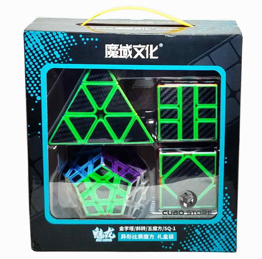 Kit Cubo Moyu Carbono Megaminx Skewb Pyraminx Sq1