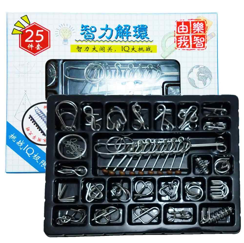 Kit Quebra Cabeça Metal Enigma 25 pçs