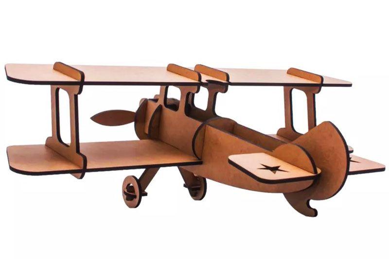 Quebra Cabeça 3d Madeira Mdf Avião