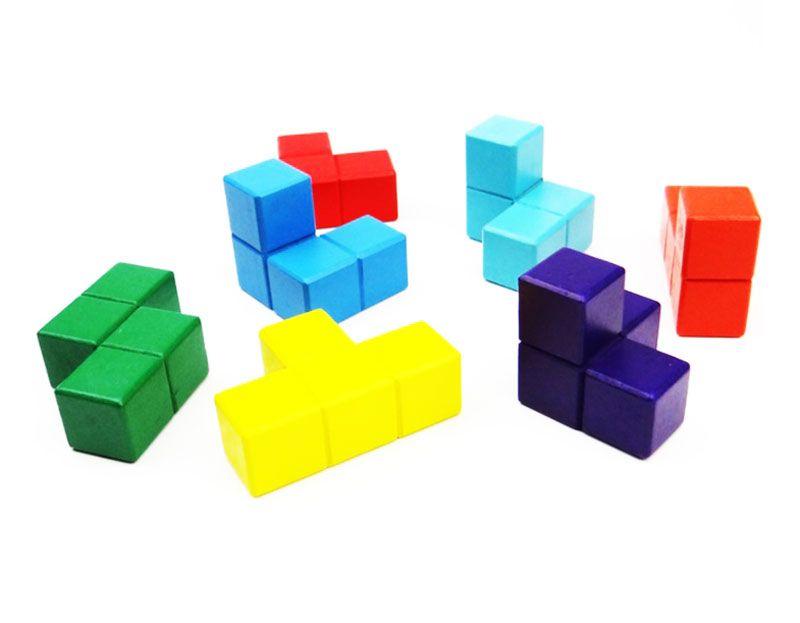 Quebra Cabeça de Madeira Tetris Cubo