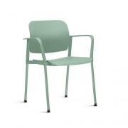 Cadeira Fixa Leaf com Braço Verde Claro