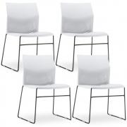 Kit 4 Cadeiras Connect Branca com base Preta