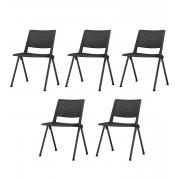 Kit 5 Cadeira Fixa Up Preto
