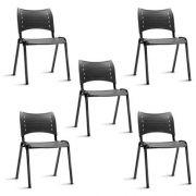 Kit 5 Cadeira Secretaria Fixa Iso Plástica