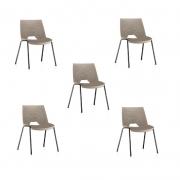 Kit 5 Cadeiras Fixa Strike Areia