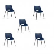Kit 5 Cadeiras Fixa Strike Azul