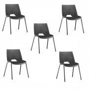 Kit 5 Cadeiras Fixa Strike Preta