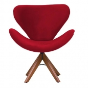Poltrona Decorativa Swan Base Madeira Tecido Vermelho
