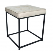 Puff Industrial Cubo Suede Bege