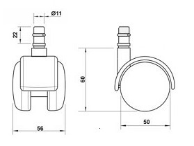 Kit 5 Rodizios para Cadeira Cinza