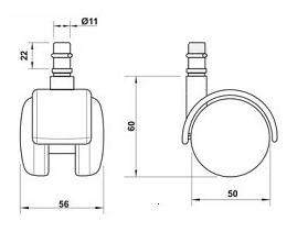 Kit 5 Rodizios para Cadeira Preto