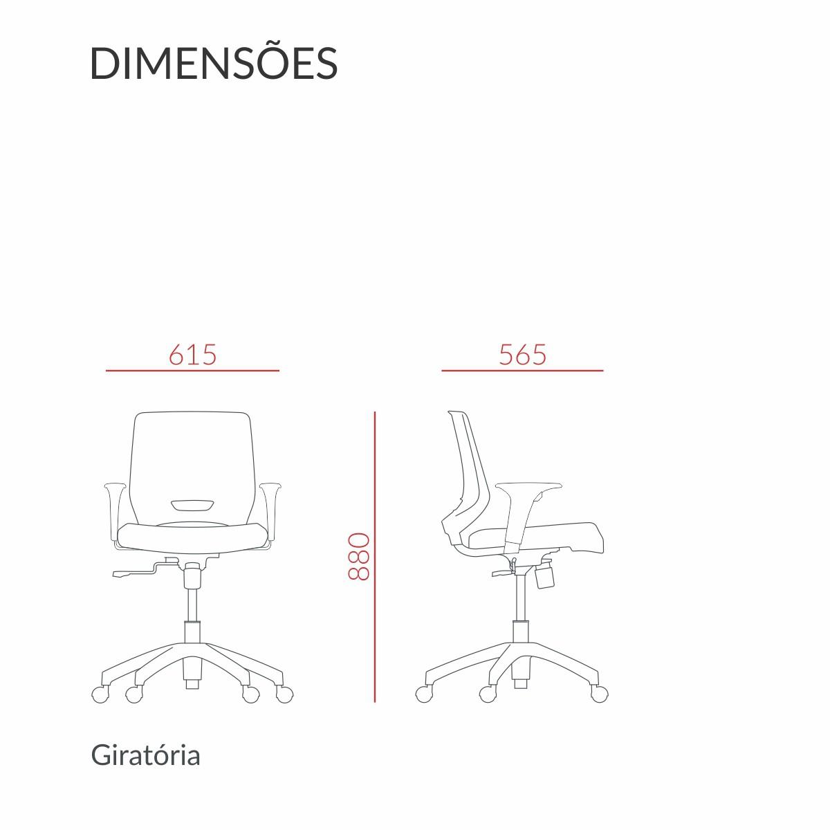 Cadeira Beezi Giratória com Braço Regulável Preta