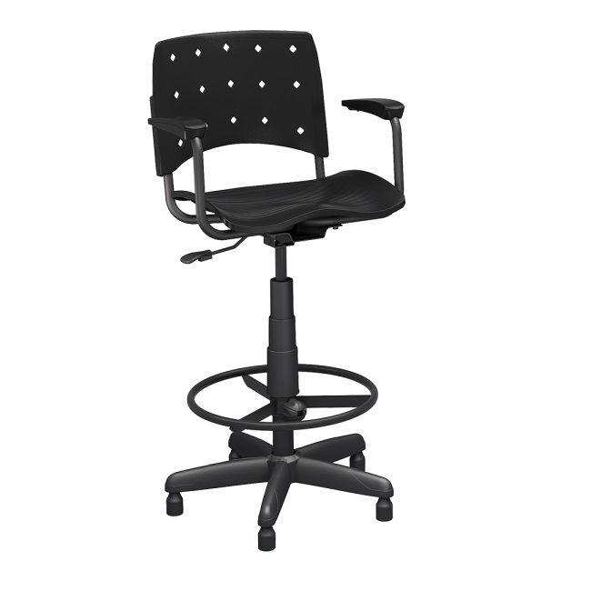 Cadeira Caixa Ergoplax+ com Braço PRETA