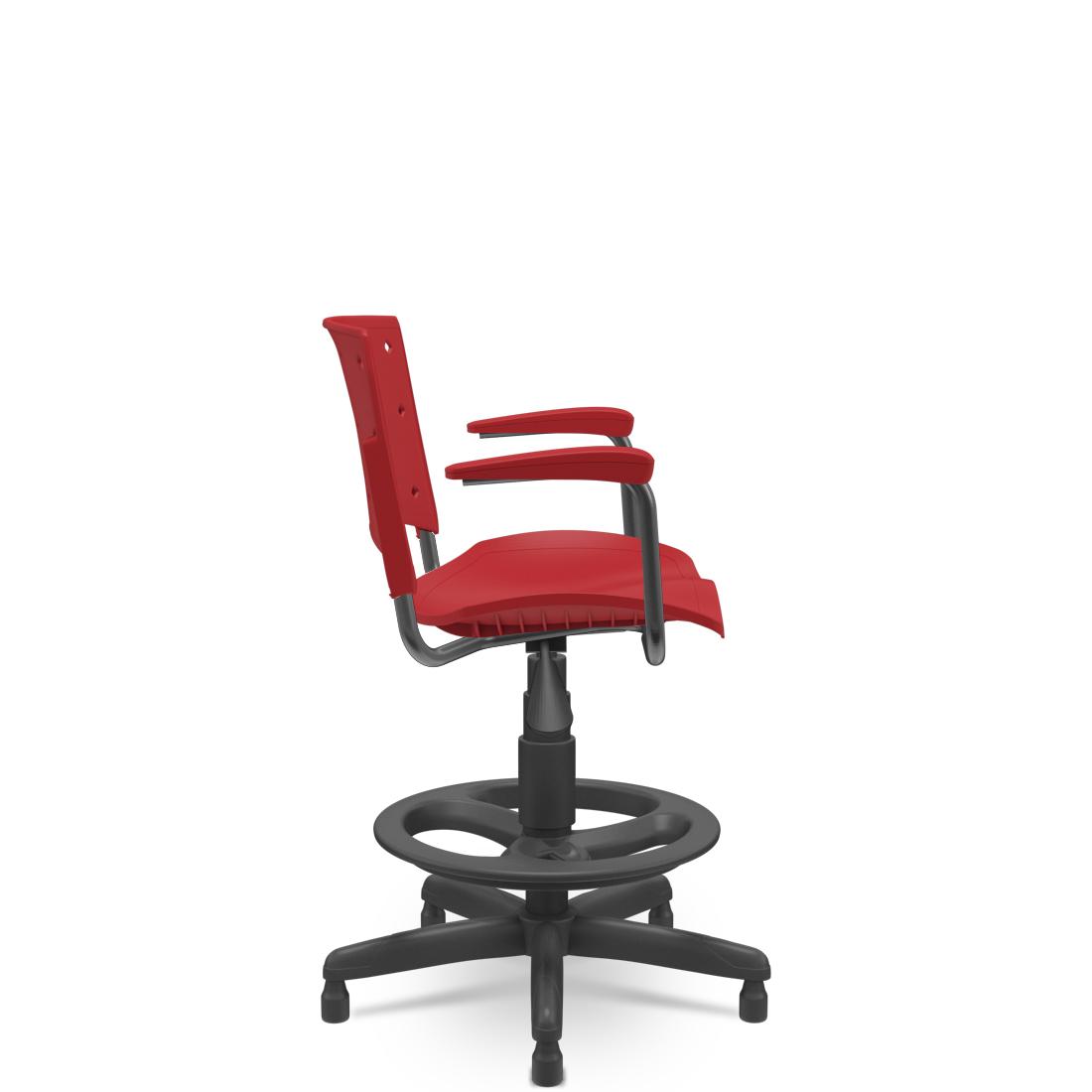Cadeira Caixa Ergoplax+ com Braço Vermelha
