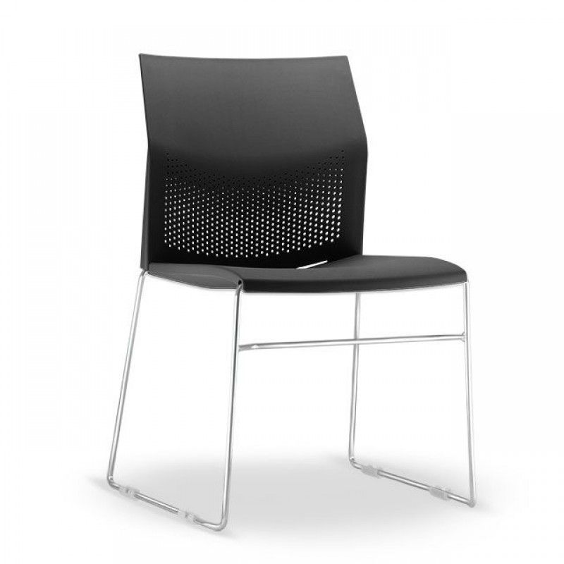 Cadeira Connect Preta com base Cromada