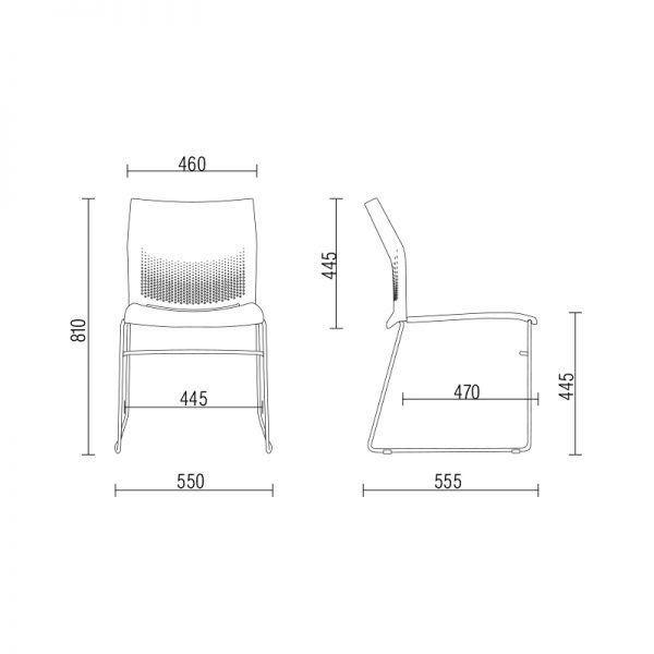 Cadeira Connect Vermelha com base Preta