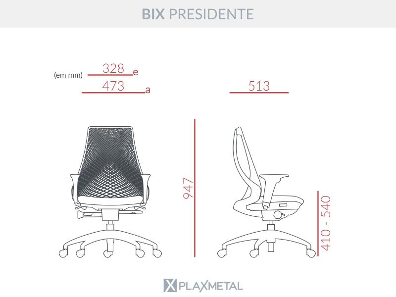 CADEIRA DIRETOR BIX AUTOCOMPENSADOR SLIDER PRETA - ALUMÍNIO