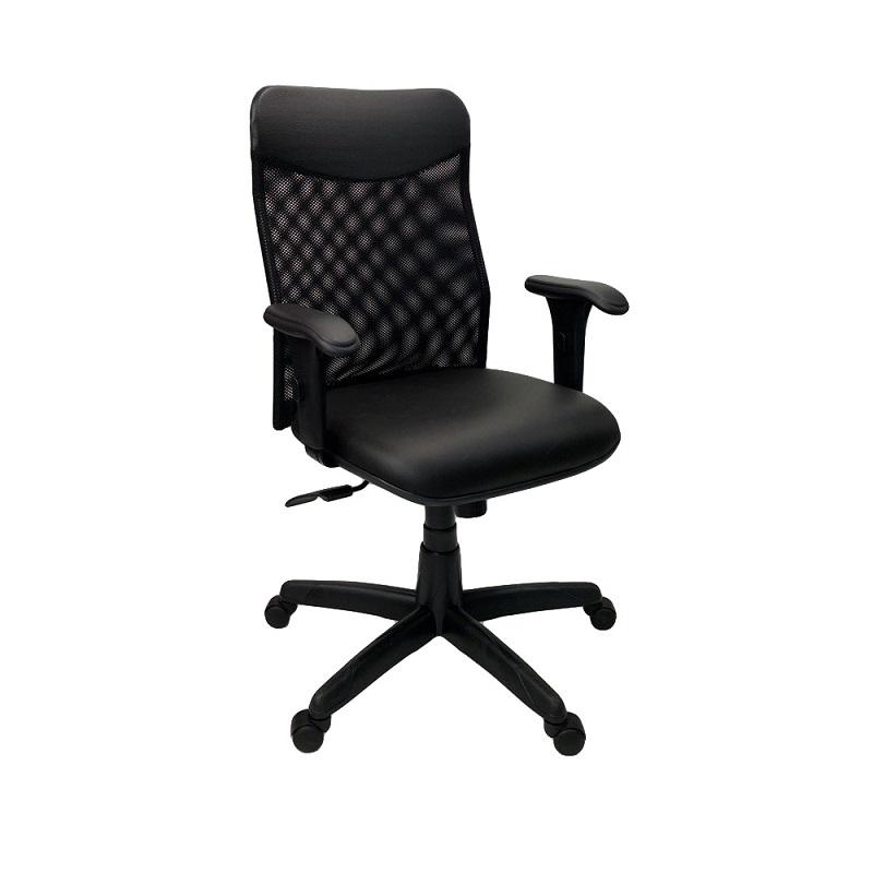 Cadeira Diretor Neturno Tela com Braço Regulável Preto