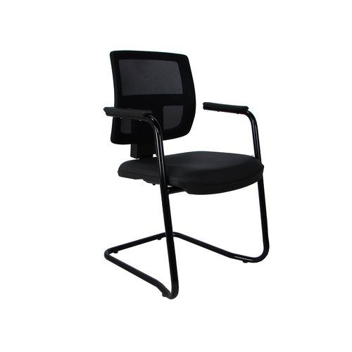 Cadeira Fixa Executiva Brizza Tela com Braço Preta