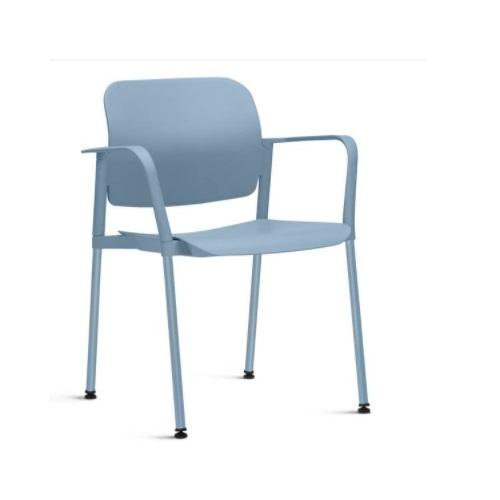 Cadeira Fixa Leaf com Braço Azul Claro