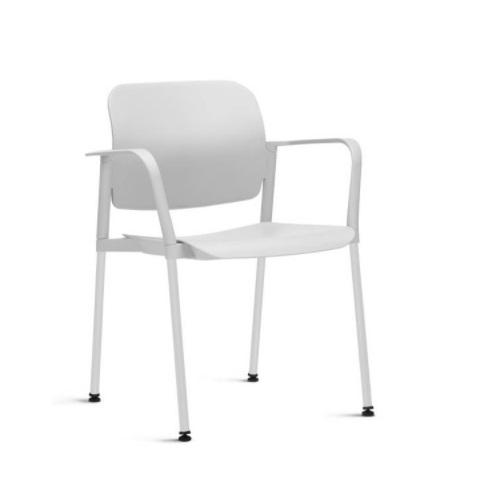 Cadeira Fixa Leaf com Braço Branca