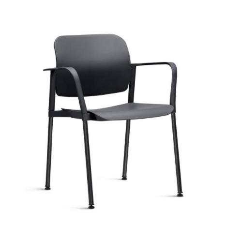 Cadeira Fixa Leaf com Braço Preta