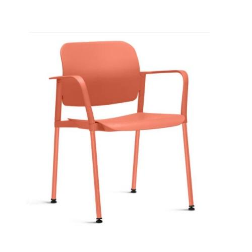 Cadeira Fixa Leaf com Braço Salmão