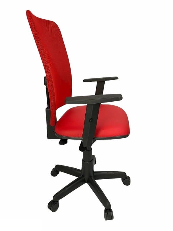 Cadeira Gerente Jupter Tela Back System com Braço Regulável Vermelha