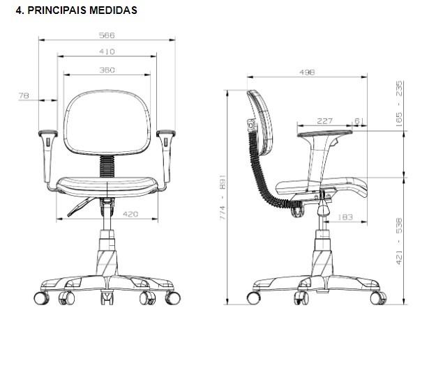 Cadeira Giratoria Secretaria Operativa Plus Courino Preto