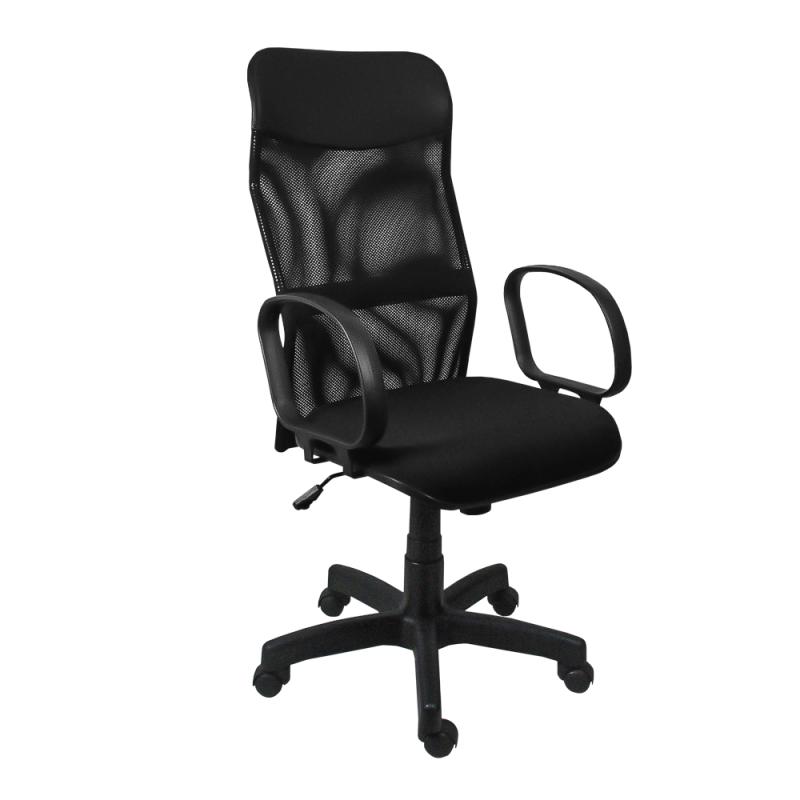 Cadeira Presidente Neturno Tela com Braço Preto