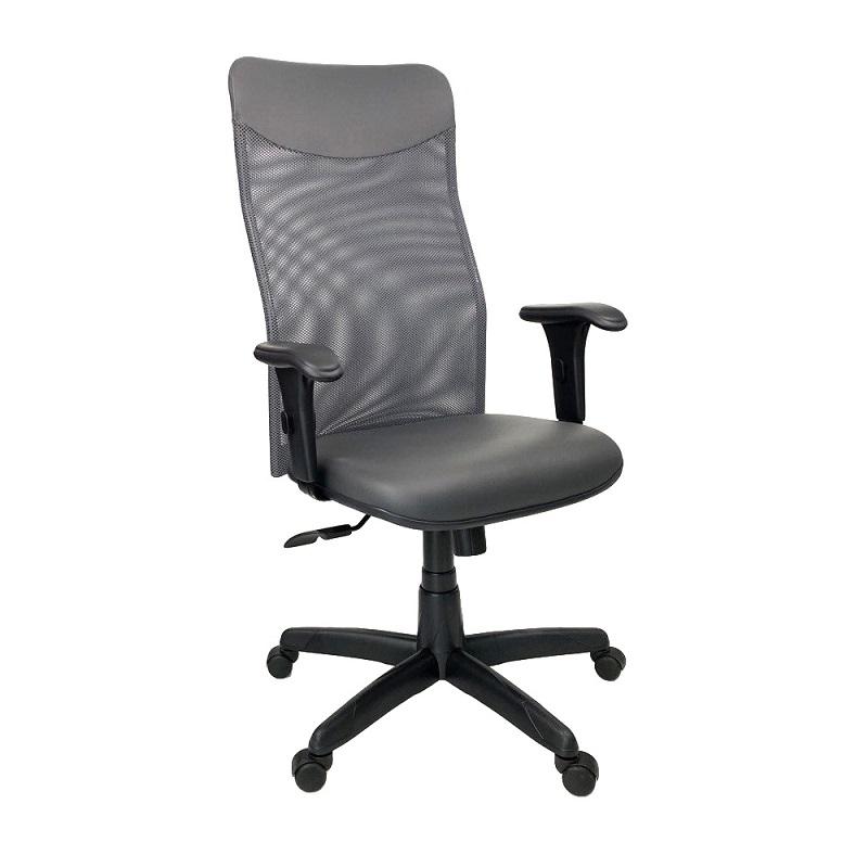 Cadeira Presidente Neturno Tela com Braço Regulável Cinza
