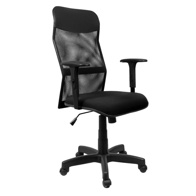 Cadeira Presidente Neturno Tela com Braço Regulável Preto