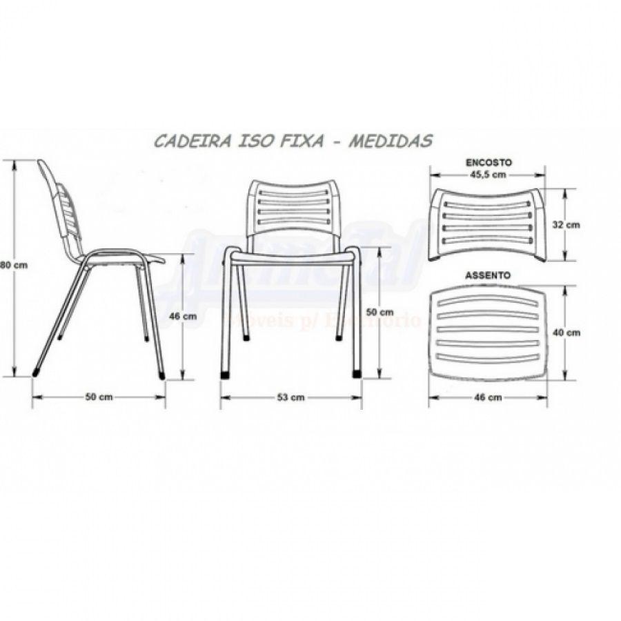 Cadeira Secretaria Fixa Iso Plástica