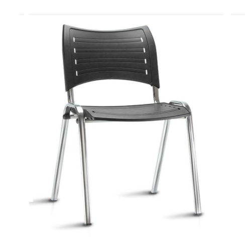 Cadeira Secretaria Fixa Iso Plástica Cromada