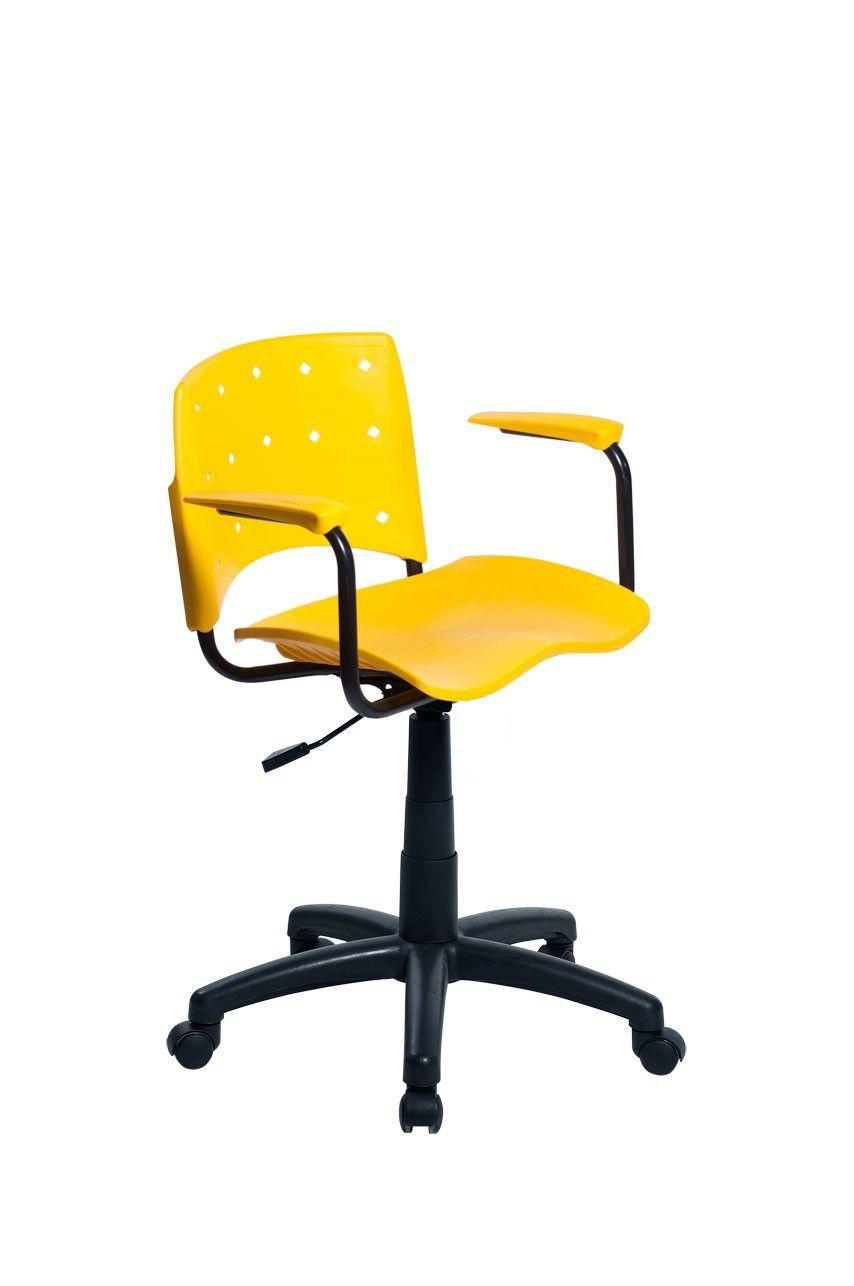 Cadeira Secretária Giratória Ergoplax+ com Braço Amarela