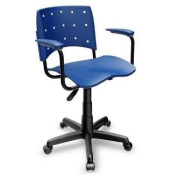 Cadeira Secretária Giratória Ergoplax+ com Braço Azul