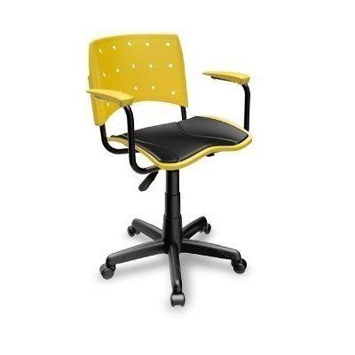 Cadeira Secretária Giratória Ergoplax+ com Braço com Estofado AMARELA
